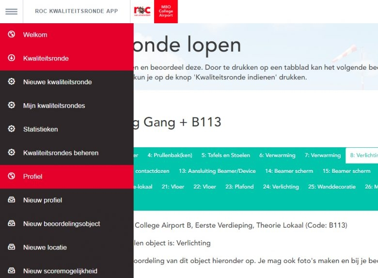 ROC van Amsterdam – MBO College Airport Kwaliteitsronde App